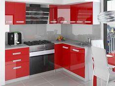 Kuchyňská rohová sestava Mona červená lesk 01 - Krátká úchytka Corner Desk, Kitchen Cabinets, Table, Furniture, Led, Home Decor, Cooking, Red Kitchen, Kitchen Cupboard