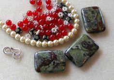 Dragon Blood Jasper Jade Czech Glass Pearls by CatsBeadKitsandMore, $17.99