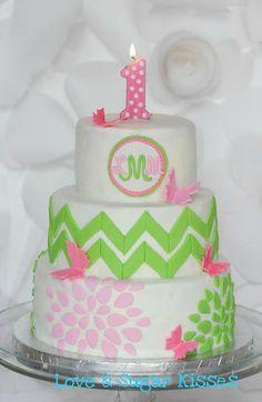 Birthday Cake {Butterflies, Chevron & Flowers} - add purple, too? Fancy Cakes, Cute Cakes, Yummy Cakes, Beautiful Cakes, Amazing Cakes, 1st Birthday Cakes, Birthday Ideas, 13 Birthday, Birthday Parties