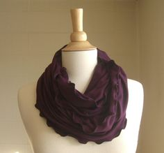 Infinity Scarf Plum Purple jersey circle cowl by ellainaboutique