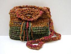 Silk Crossbody Bag fashioned from upcycled sari silk ribbons by SuePerino