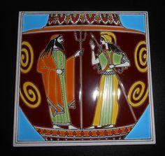 """Vintage Made in Greece Smaltotechniki 6""""  Ceramic Tile Hand Made #smaltotechniki"""