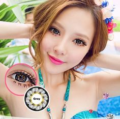 Soft Cosmetic Color Contact Lenses Optical Correction Sakura (Gray)
