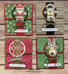 Stampin' Up! Cookie Cutter Christmas Gift Card Holders Card tutorials, craft tips, and Stampin' Up products 3d Christmas, Christmas Paper Crafts, Stampin Up Christmas, Christmas Lodge, Frugal Christmas, Christmas Gingerbread, Christmas Stocking, Christmas Decorations, Christmas Ornaments