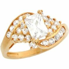10k Solid Yellow Gold White 1.7ct Rectangular CZ Cluster Ladies Ring Jewelry Liquidation. $227.81