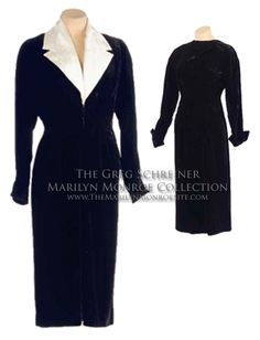 A long-sleeved black velvet dress with folded cuffs and a removable ivory satin peaked-lapel collar.  This dress was worn by Marilyn Monroe in an early photo session.  Interestingly, the collar was removed and Marilyn actually wore the dress backwards.