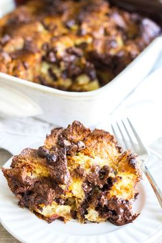 Chocolate Croissant Bread Pudding is a rich and decadent dessert that everyone loves and it's so easy to make! Great for brunch or an after dinner treat!