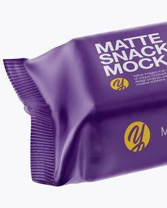 Matte Snack Bar Mockup - Front  Half Side View (High-Angle Shot)