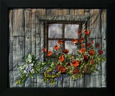 """Fabric Art Painting  """"Cabin at Kalaloch""""  Oooh! the dimension <3"""