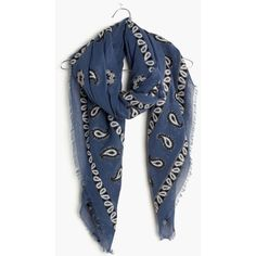 MADEWELL Bandana Jacquard Scarf (2.830 RUB) ❤ liked on Polyvore featuring accessories, scarves, naval blue, paisley bandana, blue scarves, paisley handkerchief, blue shawl and madewell scarves