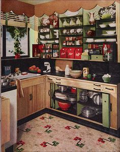 1948 Green Armstrong Kitchen- all kitchen cabinets should have individual nooks for dishes.