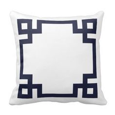 Cute girly preppy modern throw pillow with a geometric Greek key border. Click Customize It to add your name or monogram to create your own unique one of a kind design!