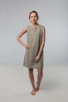 Leinenkleid natürliche graue Leinenkleid lockere von Linenfox