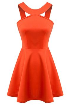 Super Cute! Love the Color! Love the Design! Sexy Tangerine Orange Solid Color A-Line Skater Dress #Sexy #Orange #Skater #Dress #Spring #Break #Fashion #Ideas