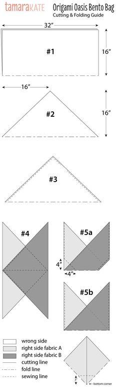 origami oasis bento bag cutting