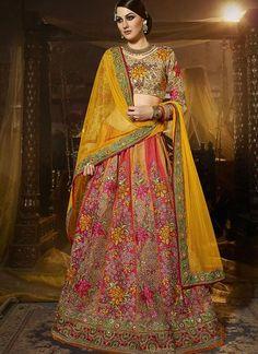 Multicoloured Embroidered Art Silk Lehenga Choli