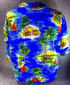 Blue Hawaiian Button Shirt XL Beach Wear Clothes Cotton Tiki Palm Hawaii Volcano #Rima #Hawaiian