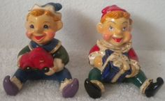 Christopher Radko Shiny Brite Vintage Elves Salt & Pepper Shaker Set - NEW Elf