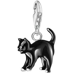 Thomas Sabo Charm Club Cat Charm, Silver/Black ($73) ❤ liked on Polyvore featuring jewelry, pendants, lobster claw charms, polish silver jewelry, silver jewellery, silver cat charm and silver charms jewelry