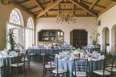 blue linens with white accents Spanish Hills Country Club Wedding  Wedding Reception Photos on WeddingWire