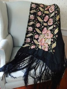 Antique Flapper Era Silk Embroidered Shawl by NuffsStuff on Etsy, $99.00