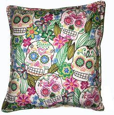 Día de la muertos almohada cráneos almohada Linda franela