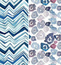 Cornflower blue watercolor patterns