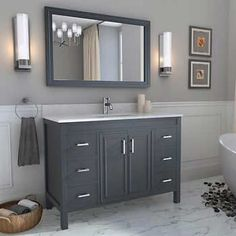 Bathroom Remodel Discover Corniche Pepper Gray Vanity by Studio Bathe Gray Vanity, 60 Vanity, Vanity Units, Grey Countertops, Master Bathroom, Bathroom Vanities, Painted Bathroom Cabinets, Grey Bathroom Vanity, Neutral Bathroom