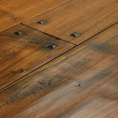 nailheads on timber flooring.