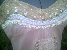 upcycled top pink camisole pink lacy top french by Fashionwithness, $90.00
