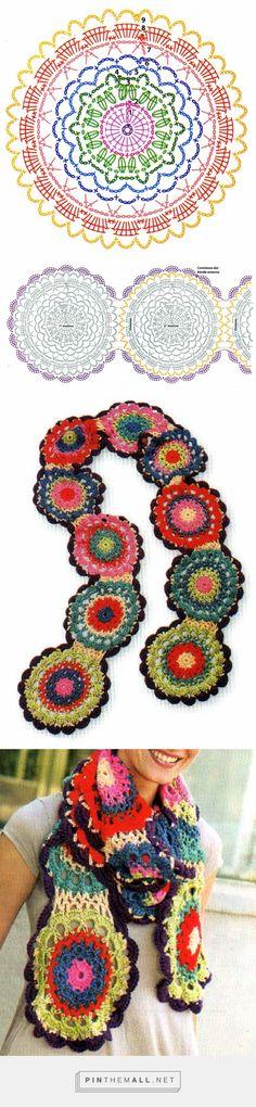 tejidos artesanales en crochet: original bufanda con flores multicolor - created via http://pinthemall.net