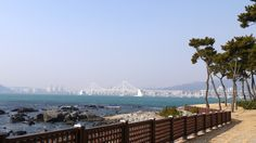 View from Dongbaekseom Island to the Gwangan Bridge Busan South Korea, Bridge, Island, Block Island, Islands