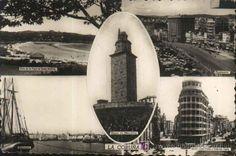 Postal Antigua : La Coruña - Dársena - Vista de la Playa de Santa Cristina - Cantones - Calles Juan