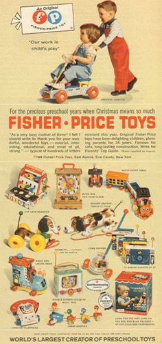 As Johnny pushed sister Suzie closer to the top of the stairs, gaining speed as he went, little Suzie's only hope was the high quality of Fisher Price toys. Fisher Price Toys, Vintage Fisher Price, Photo Vintage, Vintage Ads, Vintage Stuff, Childhood Toys, My Childhood Memories, Brinquedos Fisher Price, Nostalgia