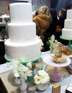 Wedding cake on jadeite cake stand!