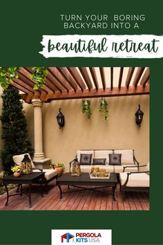 With Pergola Kits USA, you'll find the perfect backyard shelter to provide an open, airy design that will protect you from sun and rain. Use it to create an outdoor living space, complete with fire pit and TV. Or create an outdoor gathering place with a dining table and chairs, It is really anything that makes you and your family happy! #outdoorliving #backyardretreat Cedar Pergola, Diy Pergola, Pergola Kits, Pergola Designs, Small Lanterns, Small Waterfall, Small Ponds, Backyard Retreat, Back Patio