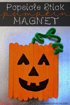 Popsicle stick pumpkin magnet   25+ Halloween crafts for kids Kids Crafts, Fall Crafts For Kids, Thanksgiving Crafts, Craft Stick Crafts, Preschool Crafts, Holiday Crafts, Craft Ideas, Halloween Crafts Kindergarten, Halloween Crafts For Preschoolers