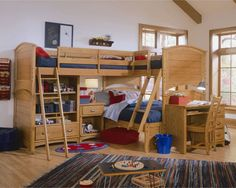 A full bed on bottom for guests and adjoining bunks up top. The boys would love it!