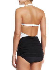 TAXC3 Norma Kamali XO Bill Mio Combo One-Piece Swimsuit, White/Black