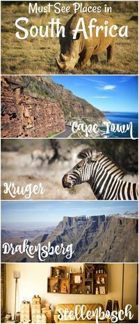 Cape Town, Stellenbosch, Kruger, and the Drakensberg are all some of the best places to see in South Africa.