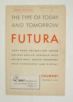 1930's Futura Specimen Booklet, via designspiration (http://designspiration.net/image/1622466222122/)