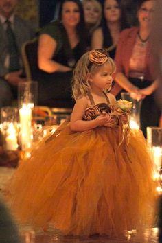 flowergirl tutu dress, fall flower girl tutu dress, burnt orange and brown girls tutu dress