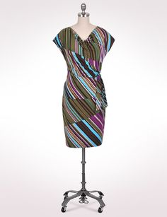 Misses | Dresses | Spliced Stripe Side-Tie Dress | dressbarn