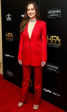 Dakota Johnson in red suit