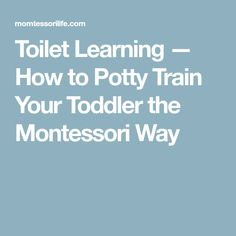 Toilet Learning — How to Potty Train Your Toddler the Montessori Way