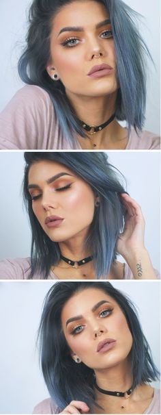 I'm thinking of dyeing my hair blue. So there will be many pins of blue hair coming. Coloured Hair, Grunge Hair, Hair Dos, Pretty Hairstyles, Gray Hairstyles, Hairstyles 2016, Messy Hairstyles, Hairstyle Ideas, Ombre Hair