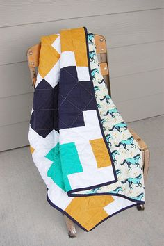 Modern Baby QuiltCotton and Steel Mustang Quilt by morgankelly