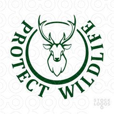 Logo designed for a wildlife preservation center. It shows a head and antlers of a majestic looking deer.  Logo recommended for: nature photographer, hunting agency, store for hunters, forester, forest ranger, safari travel agency, a lodge or bed & breakfast in a forest area.