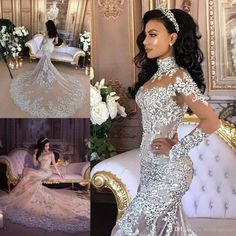 Gorgeous Mermaid Wedding Dresses Lace Appliques Sheer High Neck Bridal Gowns With Long Sleeve Appliques Crystal Wedding Dress Wedding Dresses For 2015 Wedding Dresses Photos From Weddingteam, $236.65| Dhgate.Com