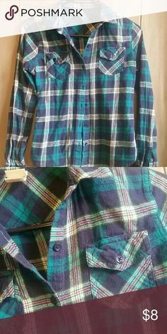 💘 20% off 2 or more 💕 Blue and turquoise flannel with red and green stripes, like new condition! Mossimo Supply Co. Tops Button Down Shirts